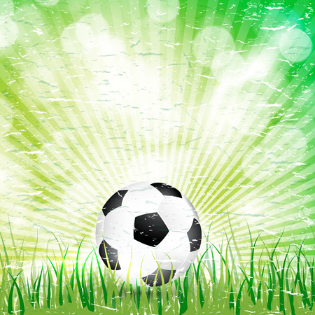 Retro soccer ball in the grass and sun light background.  Vector