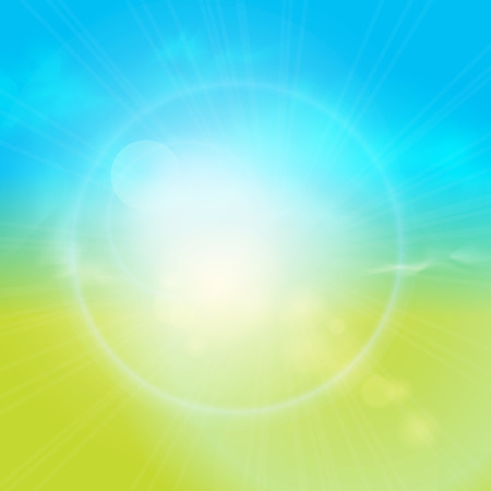 Blurry green field and blue sky with summer sun burst.  Vector