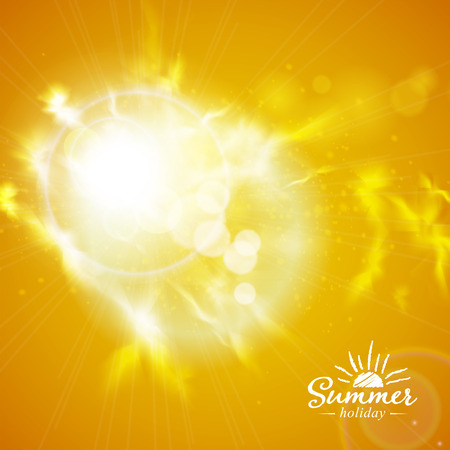 Summer background with a magnificent summer sun burst with lens flare.  Vector