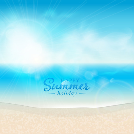 coastlines: Beautiful seascape and sun on blue sky background.
