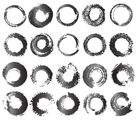 hand torn: Set of grunge circle brush strokes  Abstract design element