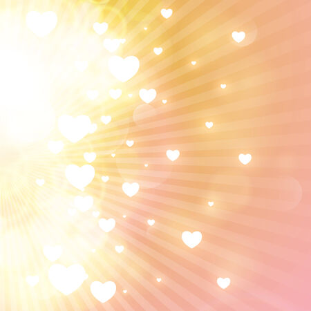 miracle: Little hearts floating on rays of light