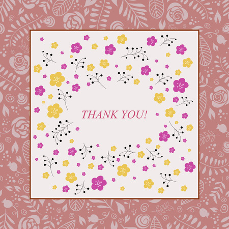 Thank you card in pink colors. Stylish floral seamless background.  Vector
