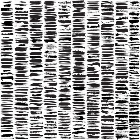 Grote set van 450 verschillende grunge penseelstreken. Stock Illustratie