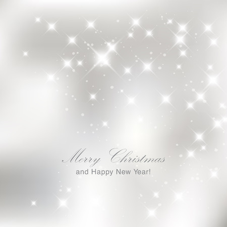 Glittery lights silver abstract Christmas background. Illustration
