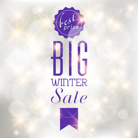 shere: Winter sale poster with glittery lights silver abstract Christmas background.  Illustration