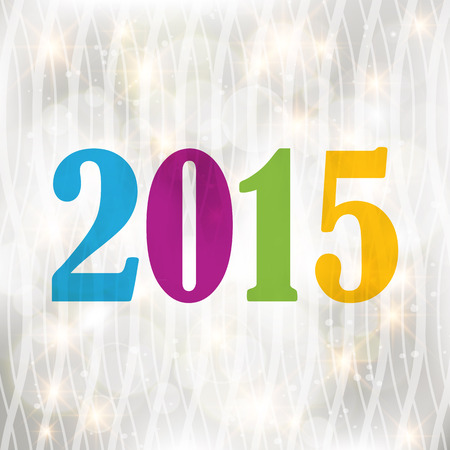 sparking: Color 2015 Happy New Year greeting card with sparking spot lights background.