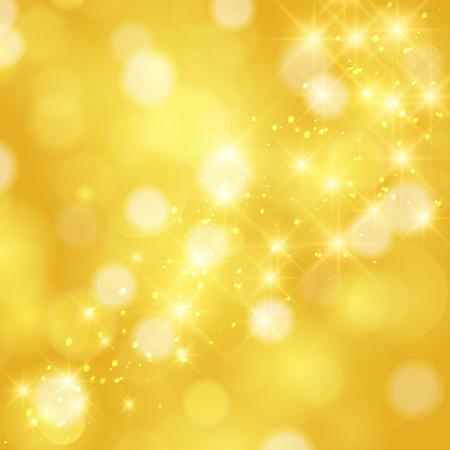 amarillo: Estrellas que brillan en dorado brillante fondo de Navidad