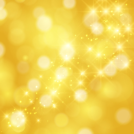 bokeh: Glittering stars on golden glittering Christmas background