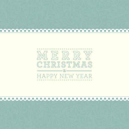 Ornate damask background. Merry Christmas and Happy New Year card design. Perfect as invitation or announcement. Vector