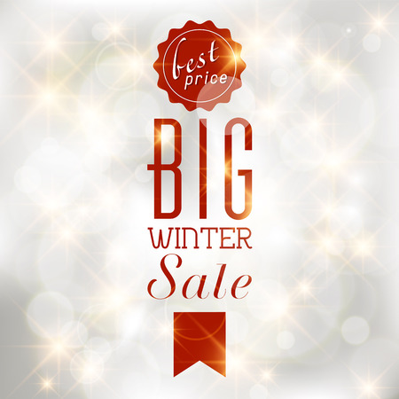 shere: Winter sale poster with glittery lights silver abstract background. Illustration