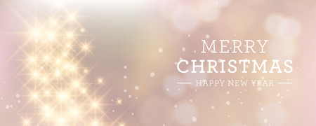 solemn: Elegant glittery Christmas banner with stars and twinkly lights.