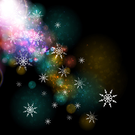 Abstract festive background with bokeh defocused lights. Vector