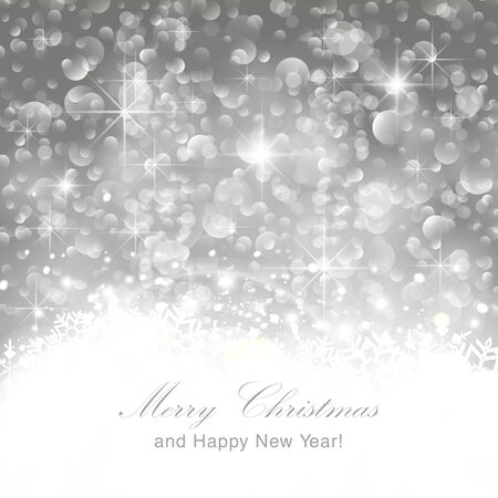 solemn: Glittery lights silver abstract Christmas background. Perfect as invitation or announcement.