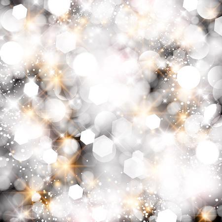 winter wonderland: Glittery lights silver abstract Christmas background. Illustration