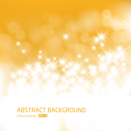 Gold festive Christmas background. Elegant abstract background with bokeh defocused lights and stars.