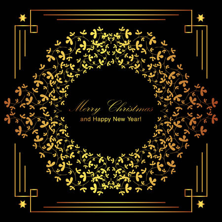 letterpress: Luxury gold floral frame on black background. Merry Christmas and Happy New Year card design. Perfect as invitation or announcement. Illustration