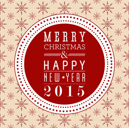Merry Christmas and Happy New Year card design with snowflake seamless background. Vector