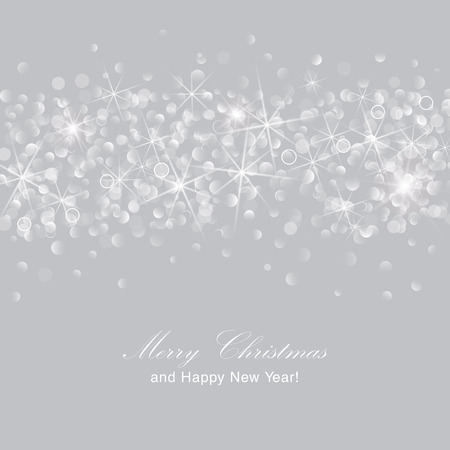 Glittery lights silver abstract Christmas background. Ilustração