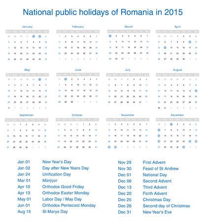 National public holidays of Romania in 2015. Template design calendar. Vector