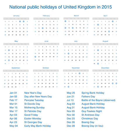 National public holidays of United Kingdom in 2015. Template design calendar. Vector