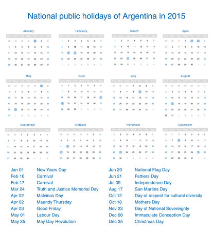National public holidays of Argentina in 2015. Template design calendar. Vector