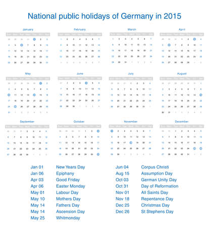 National public holidays of Germany in 2015. Template design calendar. Vector