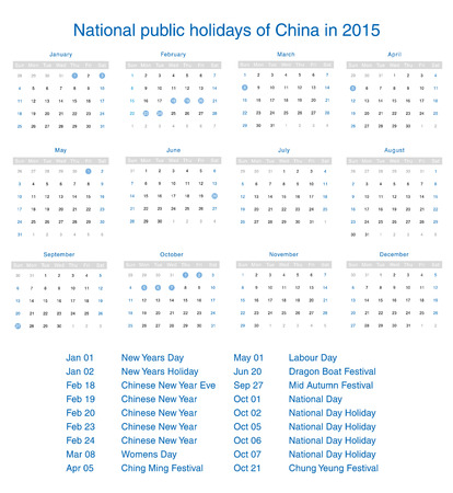 National public holidays of China in 2015. Template design calendar. Vector