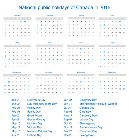 National public holidays of Canada in 2015. Template design calendar. Vector