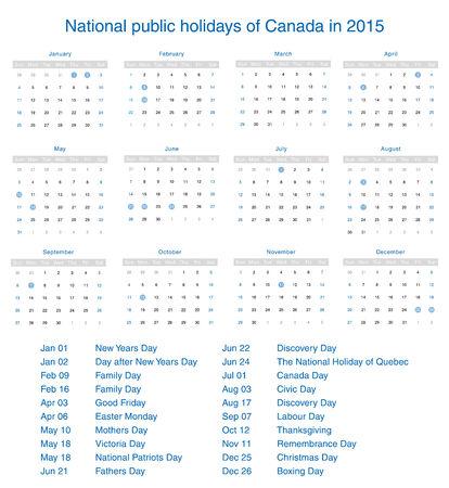 National public holidays of Canada in 2015. Template design calendar. Vector