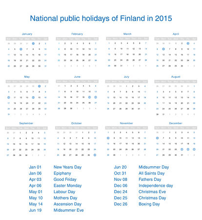 National public holidays of Finland in 2015. Template design calendar. Vector