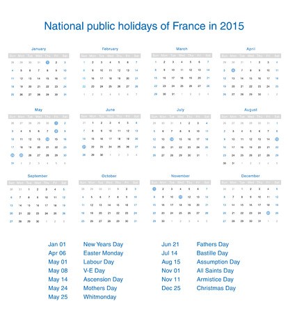 National public holidays of France in 2015. Template design calendar. Vector