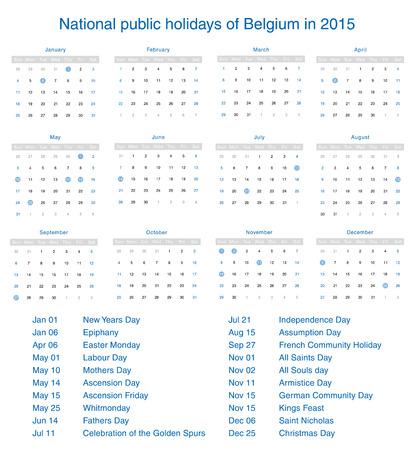 National public holidays of Belgium in 2015. Template design calendar. Vector