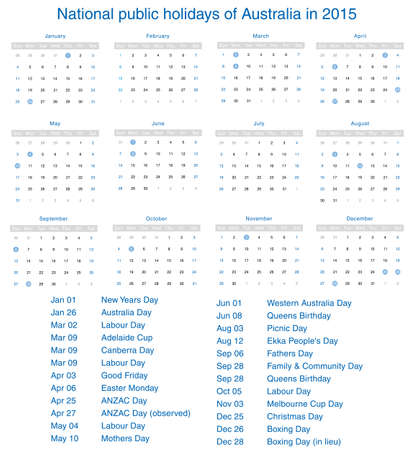 National public holidays of Australia in 2015. Template design calendar. Vector