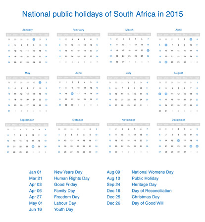 National public holidays of South Africa in 2015. Template design calendar. Vector
