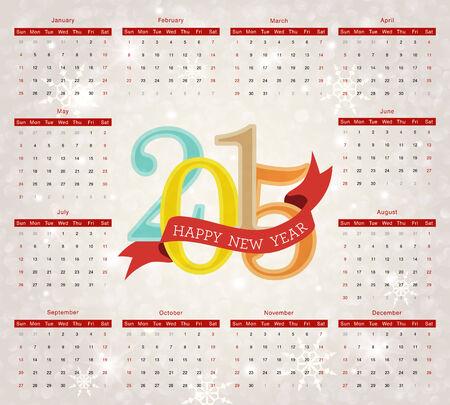 snoflake: Design template calendar 2015.