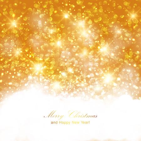 intense: Sfondo scintillante d'oro con scintillii luminosi intensi e glitter. Buon Natale e card design Felice Anno Nuovo. Vettoriali