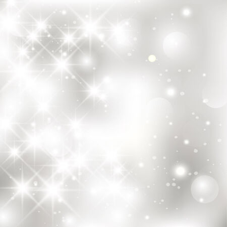silver stars: Glittery lights silver abstract Christmas background. Illustration