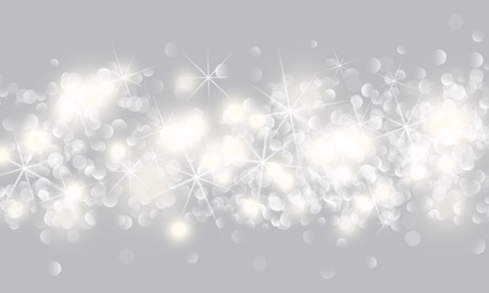 Glittery lights silver abstract Christmas background. Vector