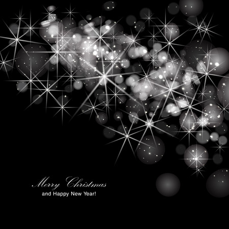 invites: Glittery lights silver abstract Christmas background. Illustration