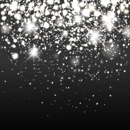 schwarz: Silber Glitter Hintergrund. Funkelnde Flow Hintergrund