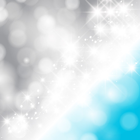 winter wonderland: Glittery lights silver and blue abstract Christmas background. Illustration