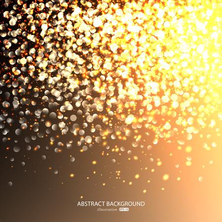 Glinsterende sterren op gouden glinsterende Kerst achtergrond. Stock Illustratie