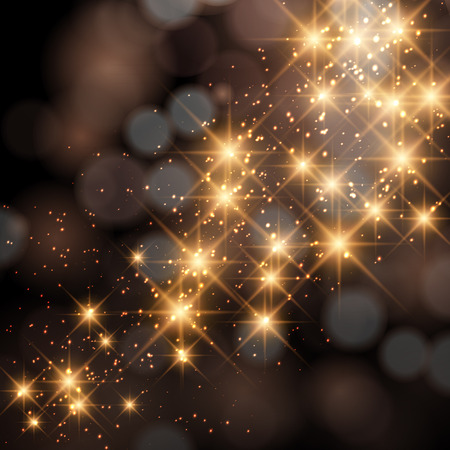 Glittering stars on golden glittering Christmas background. Ilustração