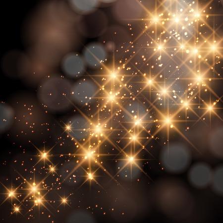 yellow star: Glittering stars on golden glittering Christmas background. Illustration
