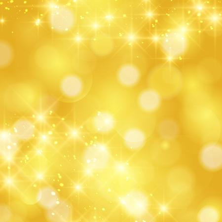 Glittering stars on golden glittering Christmas background. Stock Illustratie