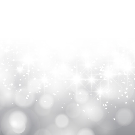 Glittery lights silver abstract Christmas background. Stock Illustratie