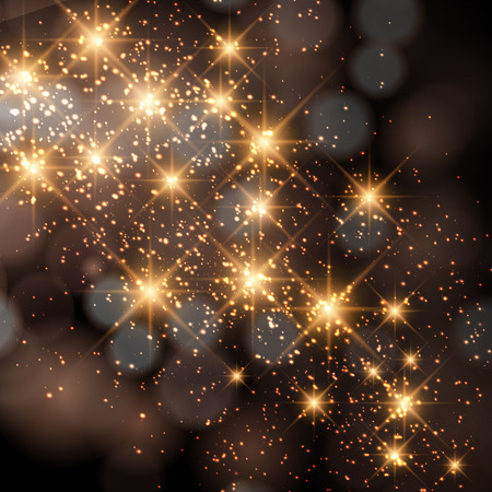 Glittering stars on golden glittering Christmas background. 矢量图像