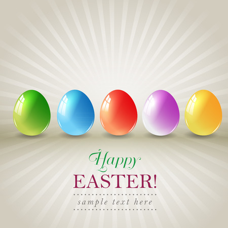 Happy easter eggs greeting card. Vector