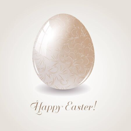 paschal: Easter egg with floral decoration. Easter greetings card.